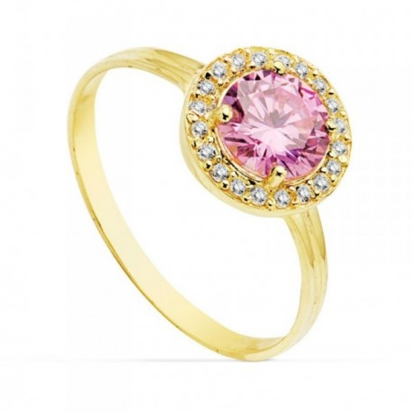 Sortija oro 18k 9mm. centro piedra rosa circonitas [AB4755]
