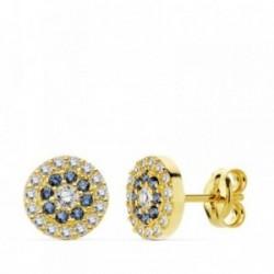 Pendientes oro 18k piedras azules 7mm. circonitas [AB4756]