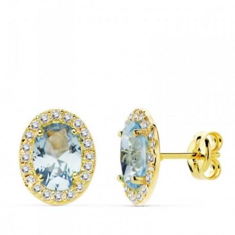 Pendientes oro 18k 10mm. centro piedra azul circonitas [AB4757]