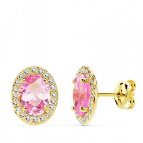 Pendientes oro 18k 10mm. centro piedra rosa circonitas [AB4759]
