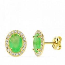 Pendientes oro 18k 10mm. centro piedra verde circonitas [AB4760]