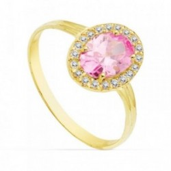 Sortija oro 18k 10mm. centro piedra rosa circonitas [AB4763]