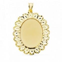 Colgante oro 18k chapa cerco oval calado 42mm.  [AB4774]