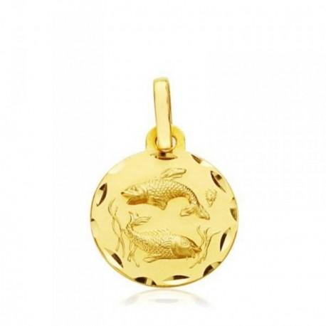 Medalla oro 18k horóscopo Piscis 13mm. signo zodiaco [AB4783]