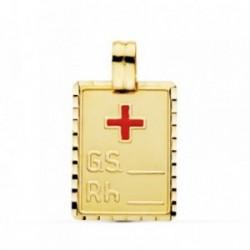Colgante oro 18k placa grupo sanguíneo RH cruz roja 24mm. [AB4785]