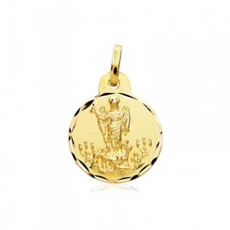 Medalla oro 18k escapulario San Rafael y Virgen Dolores 16mm [AB4786]