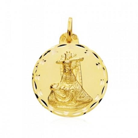 Medalla oro 18k escapulario C. Jesús Virgen Angustias 24mm. [AB4789]