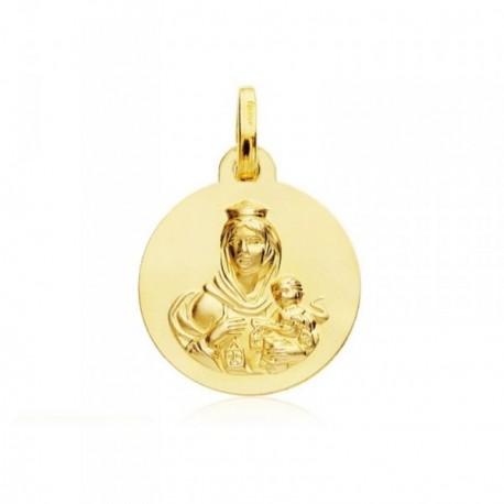 Medalla oro 18k escapulario Virgen Carmen Corazón Jesús 18mm [AB4798]