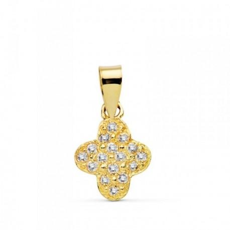 Colgante cruz oro 18k 11mm. circonitas  [AB4802]