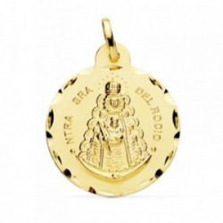 Medalla oro 18k Virgen Rocío 24mm. cerco tallado [AB4813]