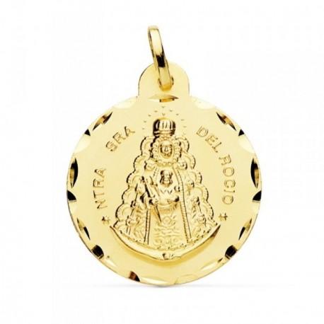 Medalla oro 18k Virgen Rocío 24mm. cerco tallado [AB4813GR]