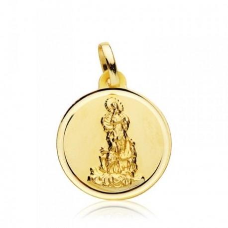 Medalla oro 18k Virgen del Saliente 18mm. bisel [AB4818GR]