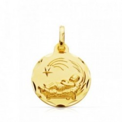 Medalla oro 9k Niño del Pesebre 14mm. colgante redondo liso borde tallado