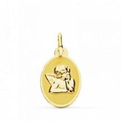 Medalla oro 9k Querubín Angel Burlón 17mm. [AB4830]