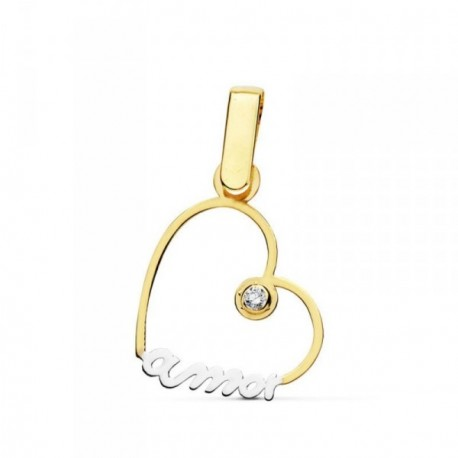 Colgante oro 9k bicolor AMOR corazón calado 18mm. circonita [AB4833]