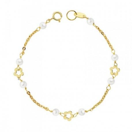 Pulsera oro 9k primera comunión perlas 3-3.5mm. flores 13cm. [AB4834]
