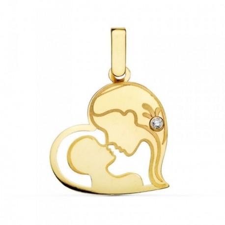 Colgante oro 9k corazón madre hijo 21mm. circonita [AB4836]