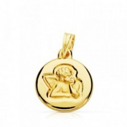 Medalla oro 9k Querubín Angel Burlón 14mm. [AB4837]