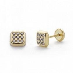 Pendientes oro 9k cuadrados 5mm. circonitas niña cierre tuerca ancho 5mm.