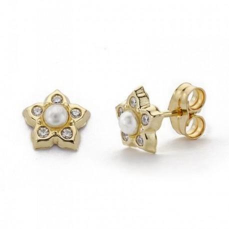 Pendientes oro 9k flor 7.5mm. centro perla circonitas niña cierre presión ancho 7.5mm.