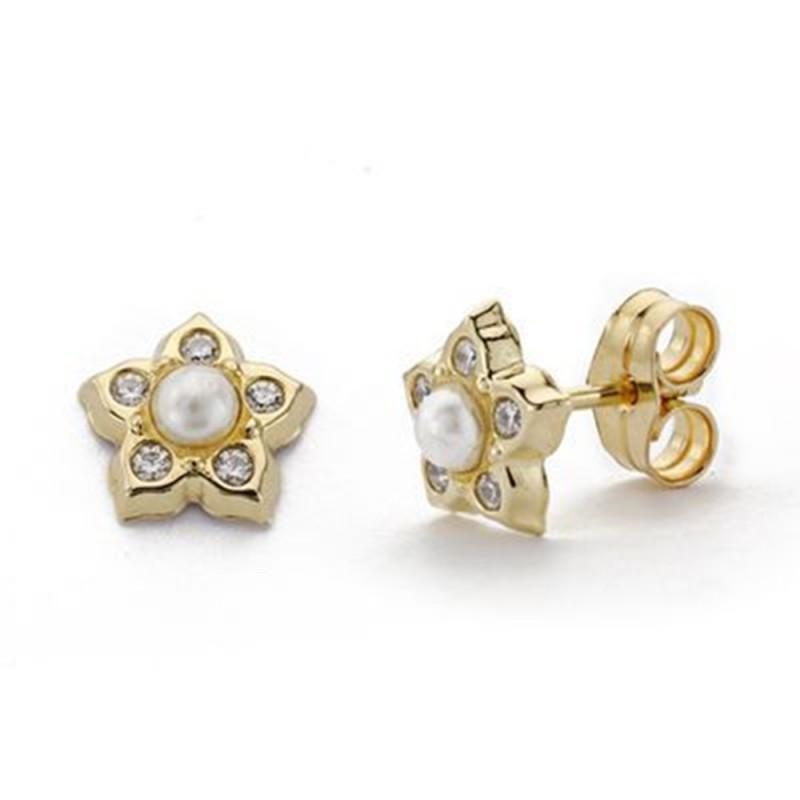 0f8415f97eba Pendientes oro 9k flor 7.5mm. centro perla circonitas niña cierre presión  ancho 7.5mm. Loading zoom