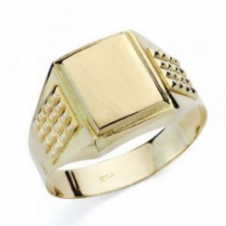 Sello oro 9k caballero cuadrado tallado hueco [AB4853]