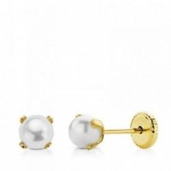 Pendientes oro 9k garras centro perla 4mm.  [AB4865]