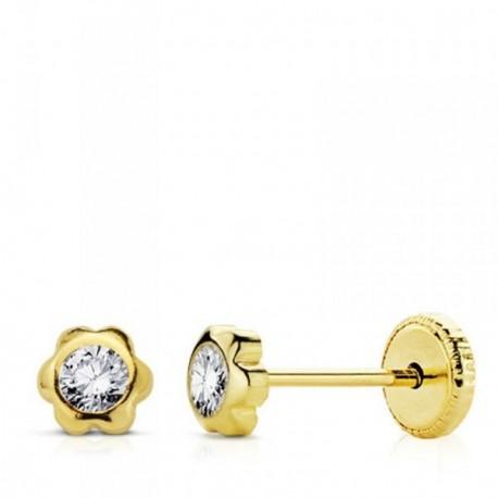 Pendientes oro 9k flor centro circonita 4mm. niña cierre tuerca