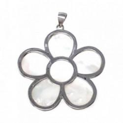 Colgante plata Ley 925m motivo flor 31 mm. nácar [AB4967]