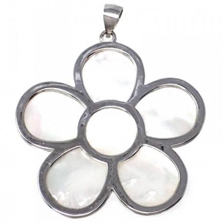 Colgante plata Ley 925m motivo flor 40.5 mm. nácar mujer