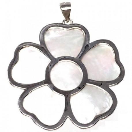 Colgante plata Ley 925m motivo flor 40 mm. nácar mujer