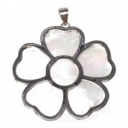 Colgante plata Ley 925m motivo flor 36 mm. nácar mujer