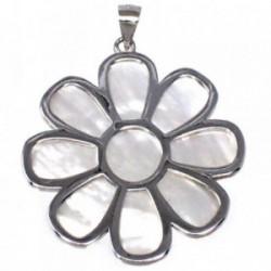 Colgante plata Ley 925m motivo flor 47 mm. nácar mujer