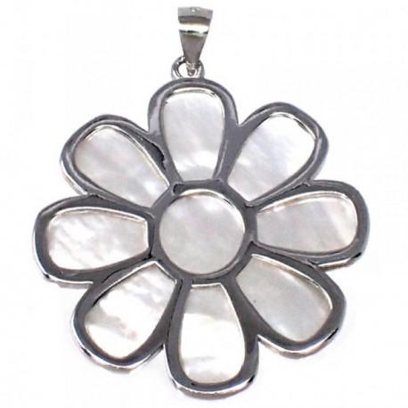 Colgante plata Ley 925m motivo flor 47 mm. nácar [AB4973]