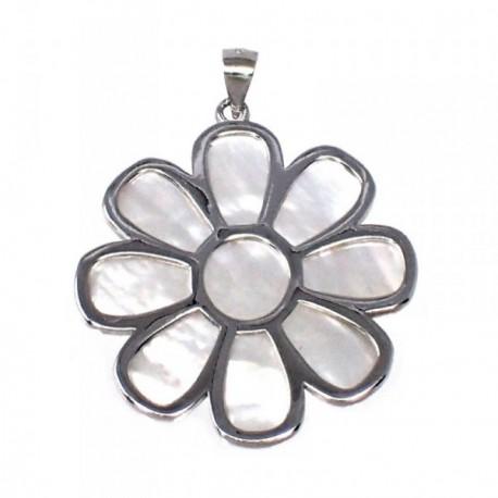 Colgante plata Ley 925m motivo flor 32 mm. nácar mujer