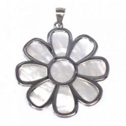 Colgante plata Ley 925m motivo flor 43 mm. nácar mujer