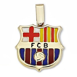 Colgante escudo F.C. Barcelona oro de ley 18k 20mm. esmalte [6503]