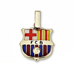 Colgante escudo F.C. Barcelona oro de ley 18k 14mm. esmalte [6507]