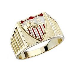 Sello escudo Sevilla FC oro de ley 18k caballero estrías [8590]