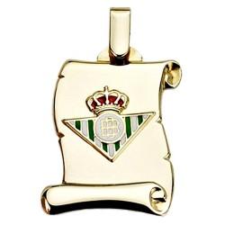Colgante pergamino escudo Real Betis oro de ley 9k 26mm. [8710]