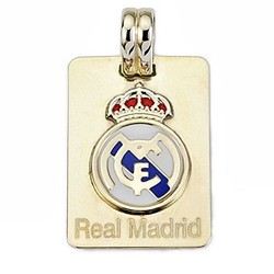 Chapa escudo Real Madrid oro de ley 9k esmalte rectangular [6493]