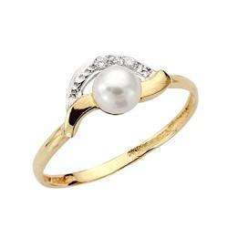 Sortija oro 18k bicolor perla circonitas comunión [9038S]