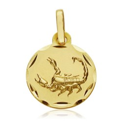 Medalla oro 18k horóscopo Escorpio 13mm. signo zodiaco [AA7400GR]
