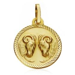 Medalla oro 18k horóscopo Aries 16mm. signo zodiaco [AA7408]