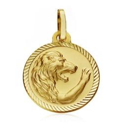 Medalla oro 18k horóscopo Leo 16mm. signo zodiaco cerco tallado