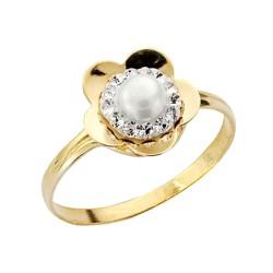 Sortija oro 9k forma flor perla circonitas [AA1744]