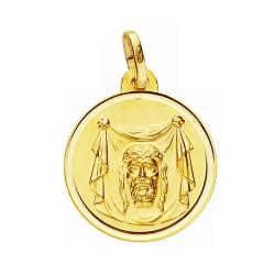 Medalla oro 18k Santa Faz 18mm. lisa bisel [AA2683]