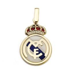 Colgante escudo Real Madrid oro de ley 18k esmaltado 22mm. [AA7447]