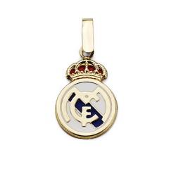 Colgante escudo Real Madrid oro de ley 18k esmaltado 17mm. [AA7448]