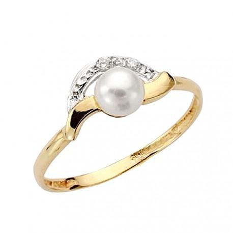 Sortija oro 9k perla circonitas comunión [AA7519]
